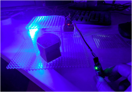 Red Monster's house with LED using photosensitive sensor to detect level of light